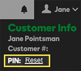 Click Reset to reset your PIN