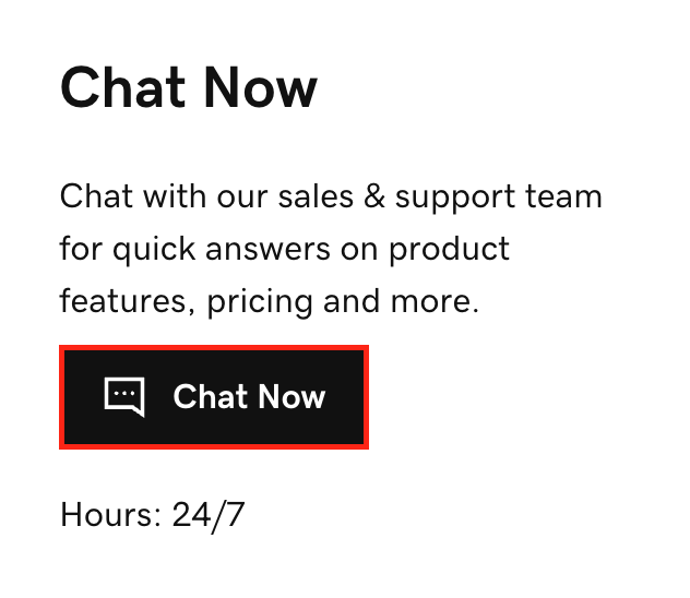 select chat now to start live chat