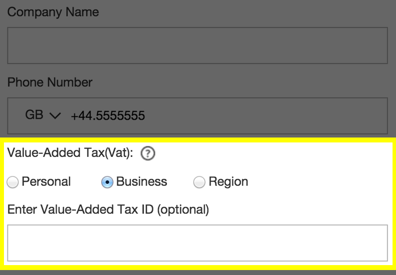 screenshot of Value-Added Tax (Vat) fields
