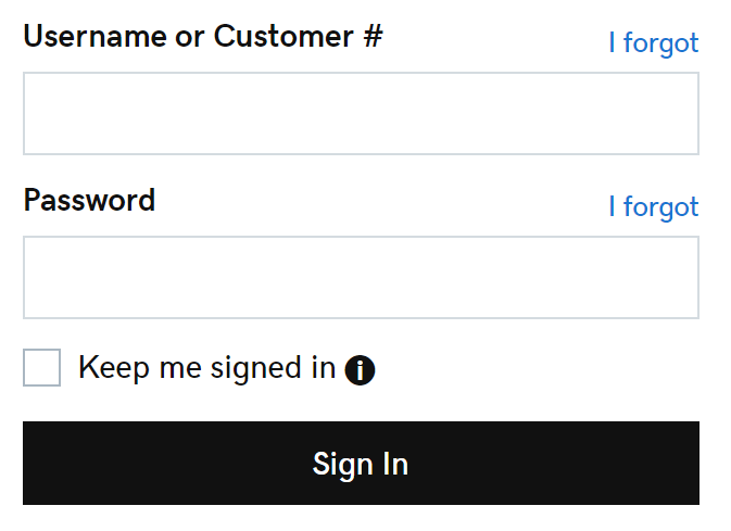 sign in with username and password