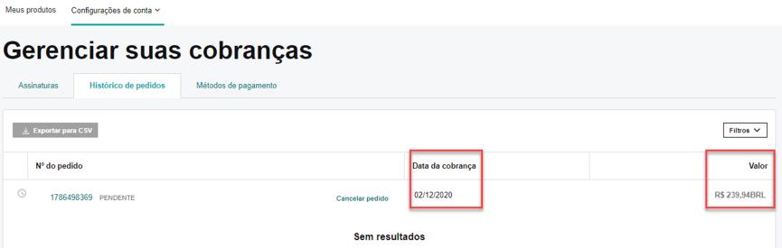 Página de status do pedido mostrando o valor e a data do pedido