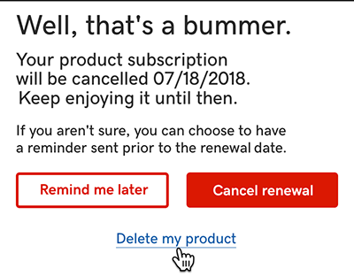 click delete my product