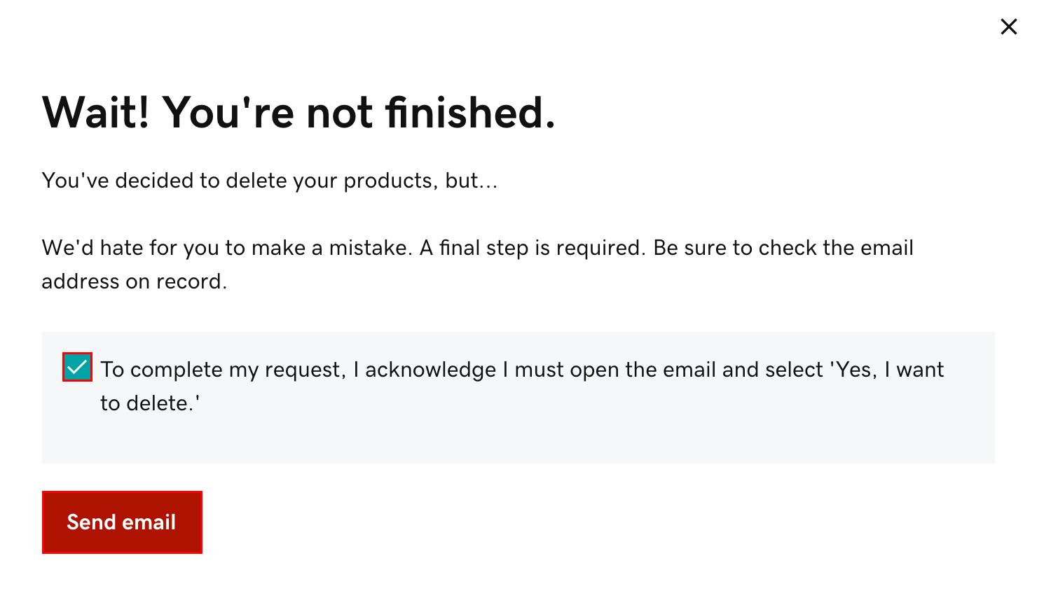 點選核取方塊,然後點選「發送 email」