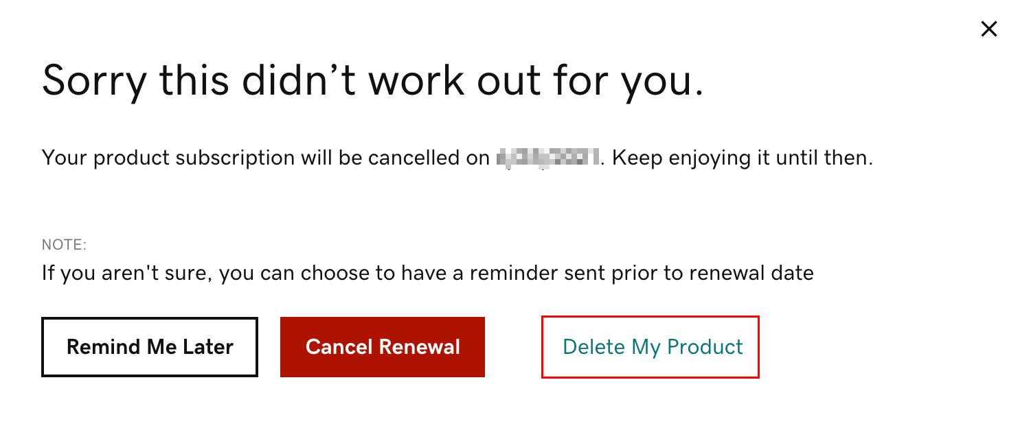 點選「刪除我的產品」