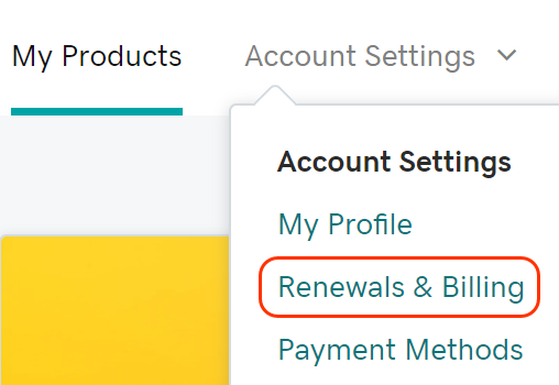 Go to Renewals & Billing
