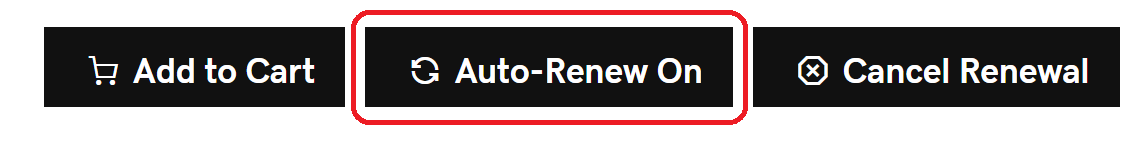 The Auto-Renew On icon is highlighted