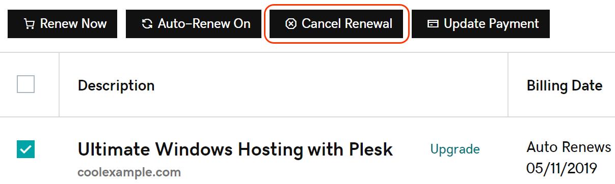 click cancel renewal
