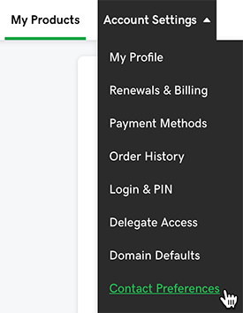 select contact preferences for my account