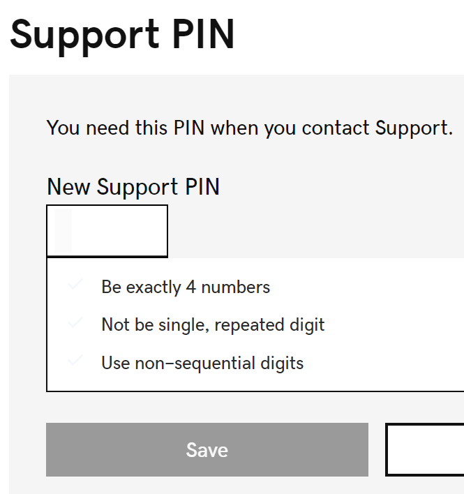 Enter a new Support PIN