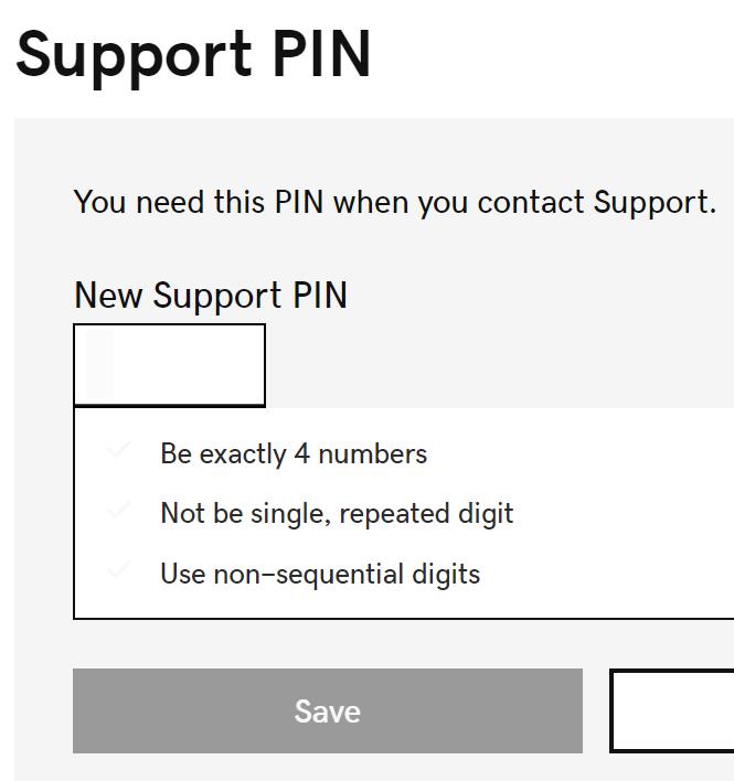 Insira um novo PIN de suporte