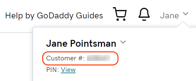 Account menu open showing your customer number