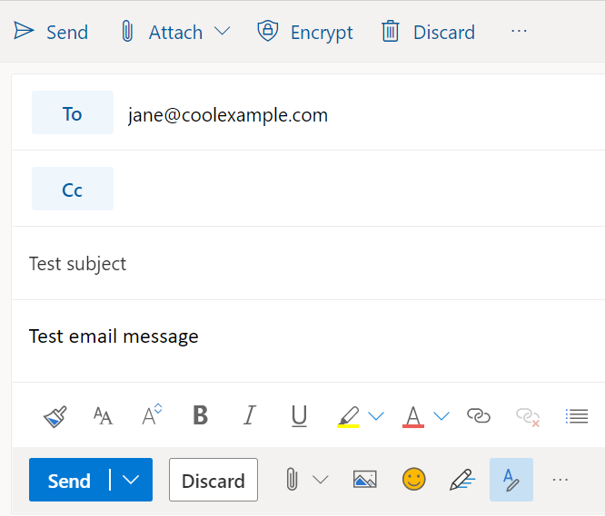 Test draft message in Outlook on the web