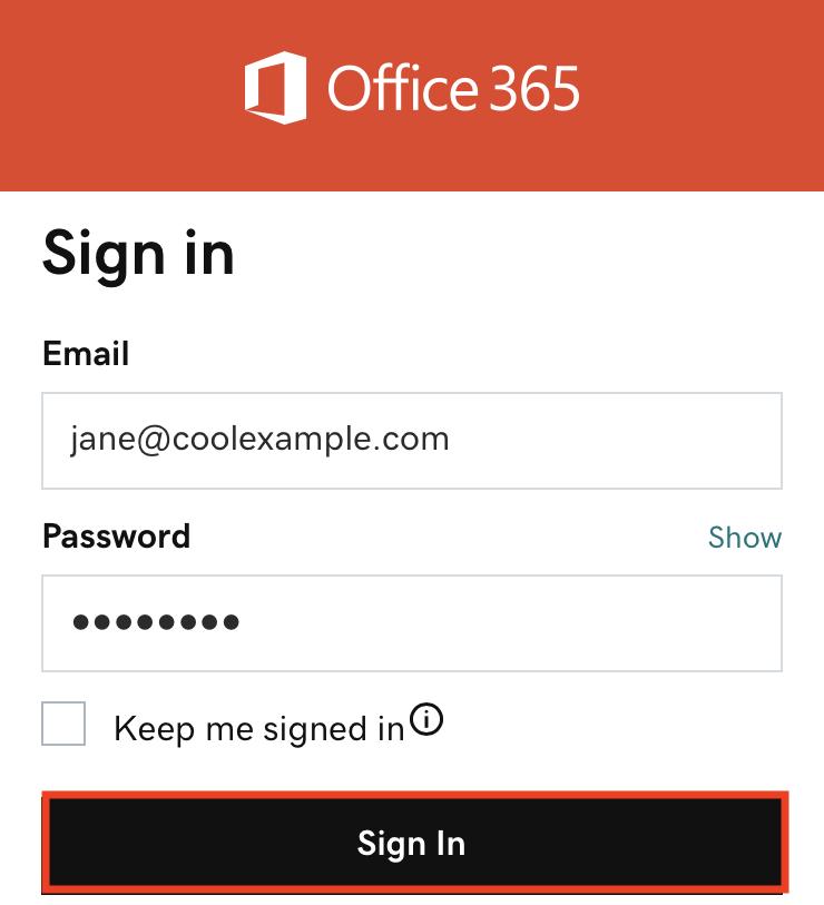 輸入密碼並按一下「登入」