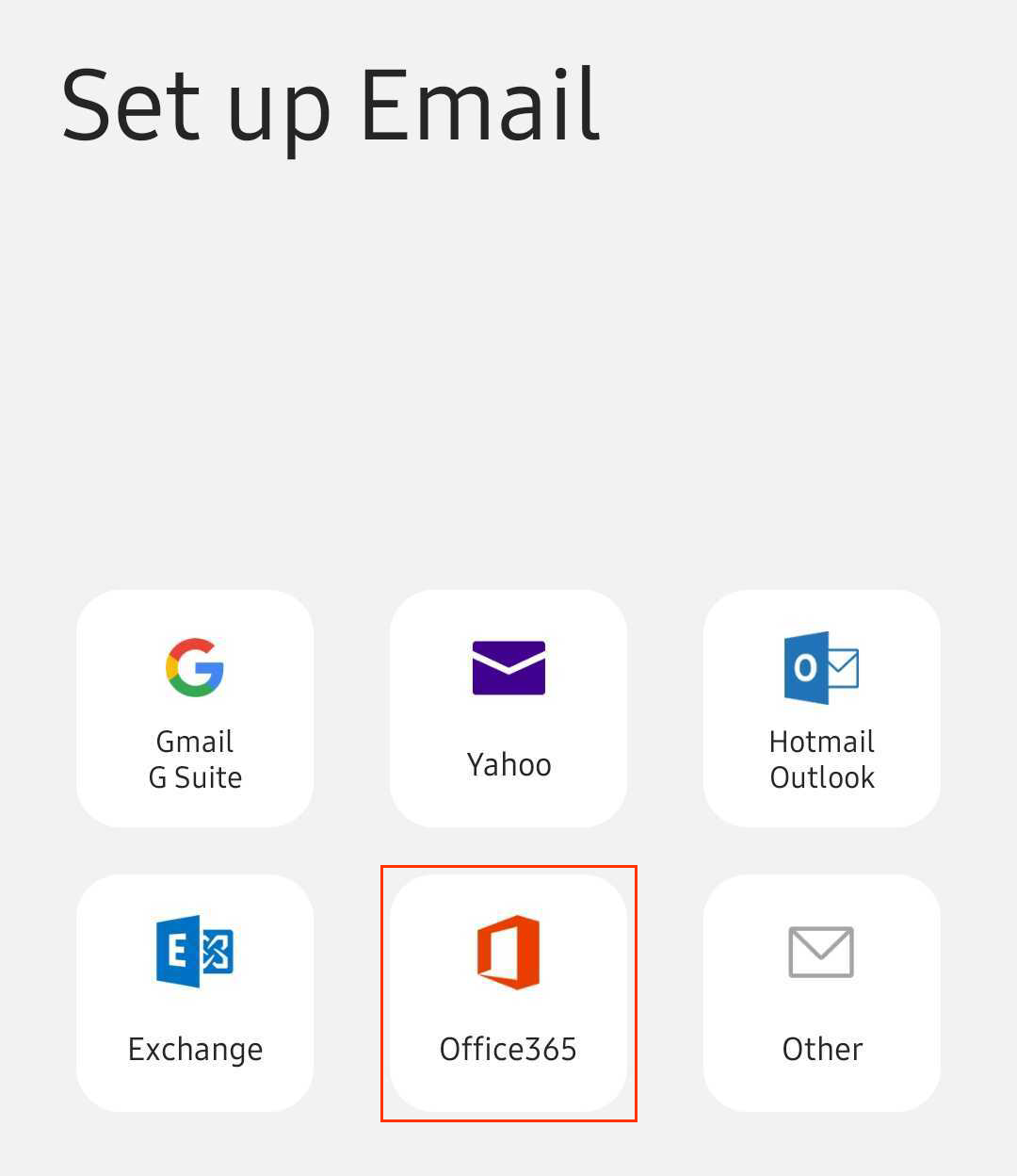 Screen with different email client options including Office 365 with red square