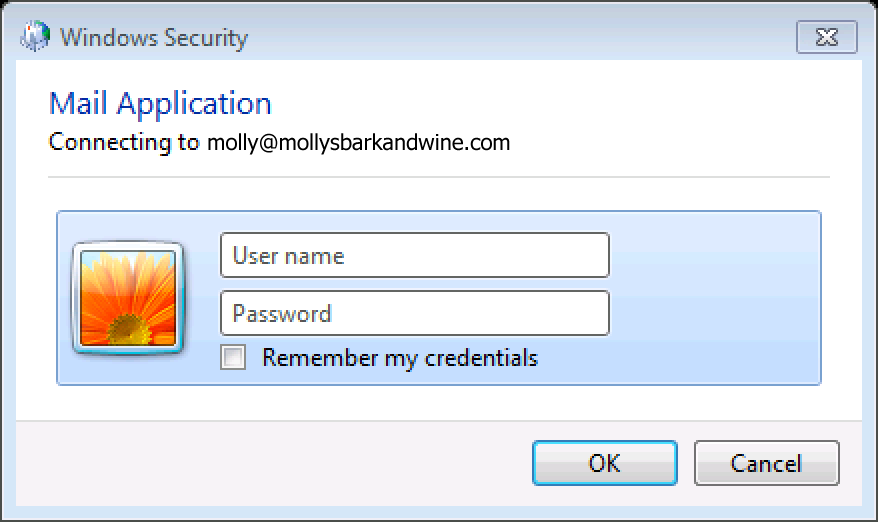 Enter login credentials, click OK