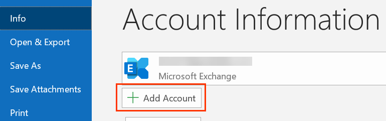 Under Account Information, + Add Account