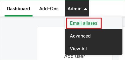 Click Admin and select Email aliases