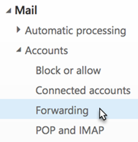 Expand Mail, then Accounts. Select Forwarding.