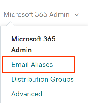 Microsoft 365 Admin tab opened to show Email Aliases