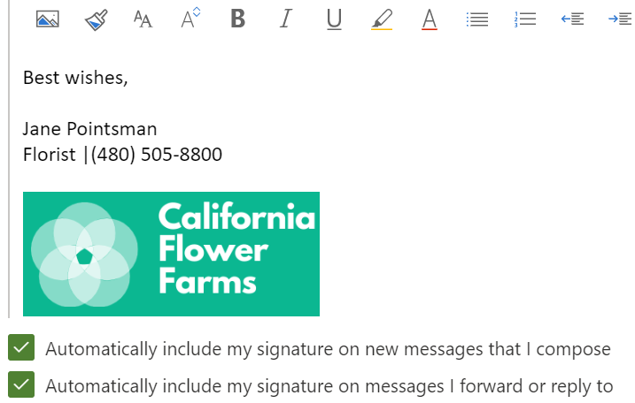 email signature draft showing boxes checked to automatically include signature