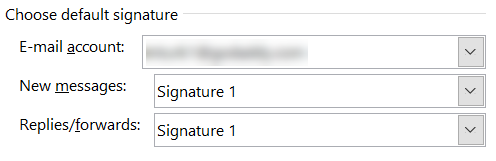 Choose default signature