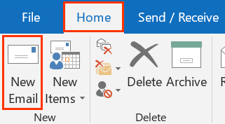 Home tab and New Email button