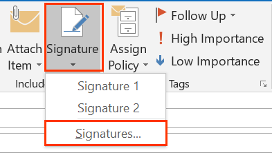 Signature button opens menu below with Signatures... option