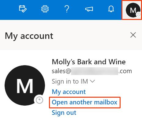 Ikona użytkownika i Otwórz inną skrzynkę pocztową