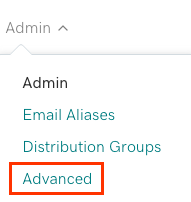 Admin tab open to show Advanced option below