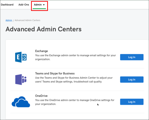 Advanced Admin Centers page