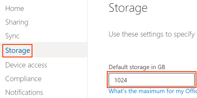 OneDrive admin center with storage panel and default storage box