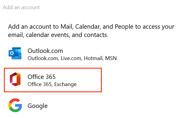 Outlook.com, Office 365 및 Google 아이콘