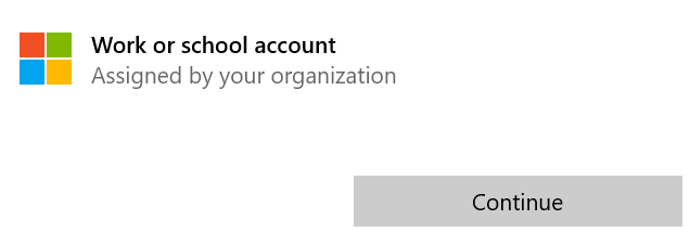 Work or school account above Continue button