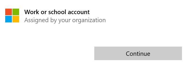 Рабочий или учебный аккаунт выше кнопки Продолжить