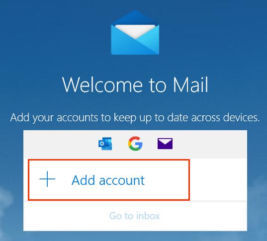 Кнопка Add account (Добавить аккаунт) под приветственным сообщением