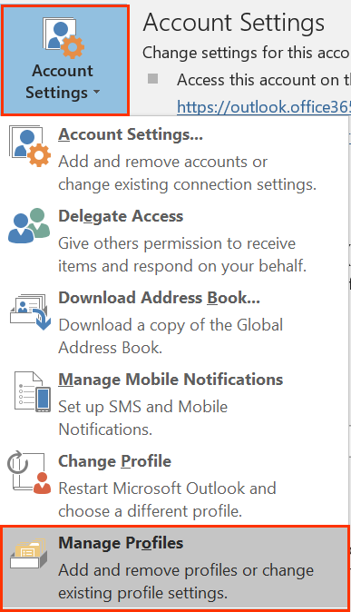 Under Account Settings, Manage Profiles option