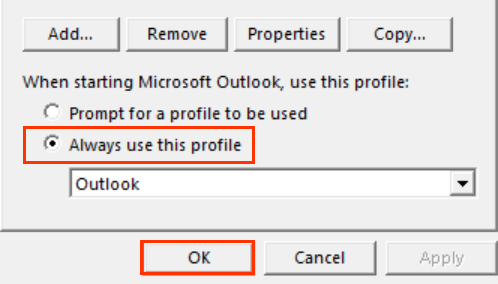 Always use this profile button above drop-down menu