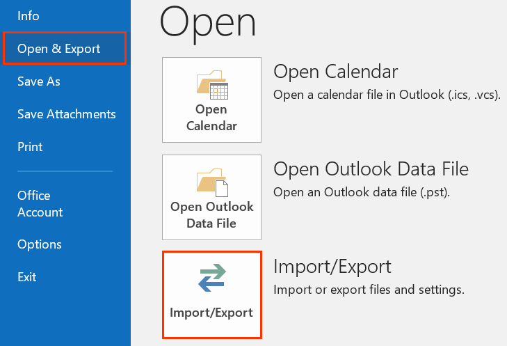 Open & Export in left panel and Import/Export button