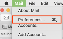 Mail opened showing Preferences... option above Accounts...