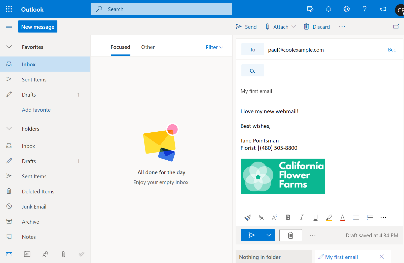 Email draft in Outlook