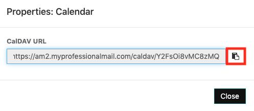 Copiar URL do CalDAV