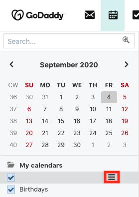 Selecionar o ícone de três linhas ao lado do calendário