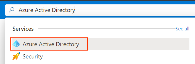 Search bar with Azure Active Directory
