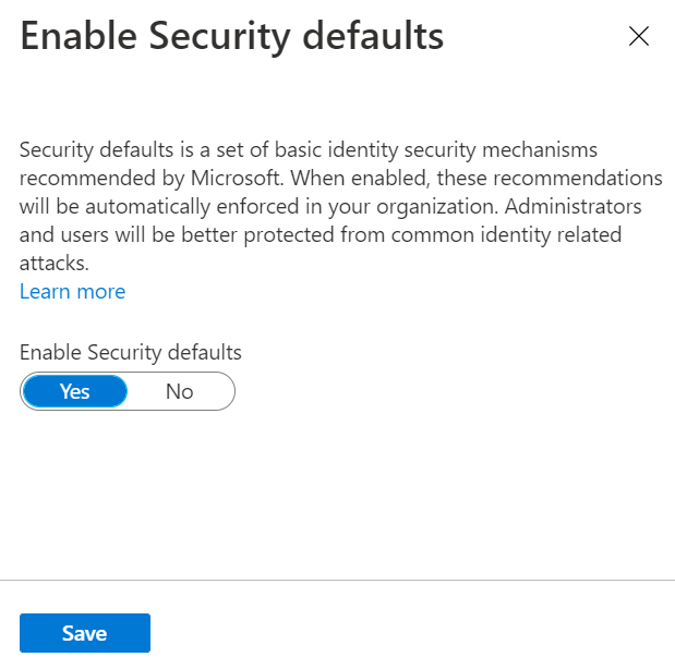 Toggle Enable Security defaults to Yes