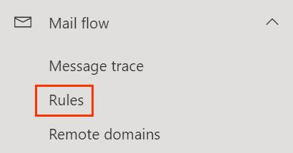 Menu de fluxo de correio aberto com a opção Regras