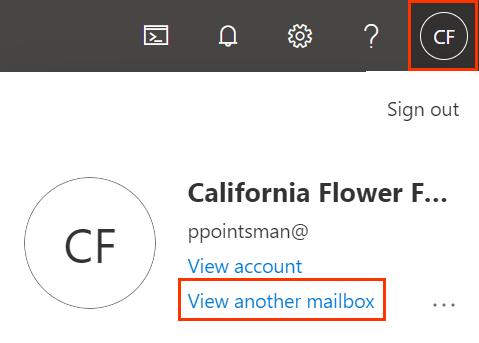 Ícone do perfil e Ver outra caixa de correio