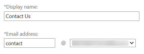 Display name Contact Us and Email address contact@