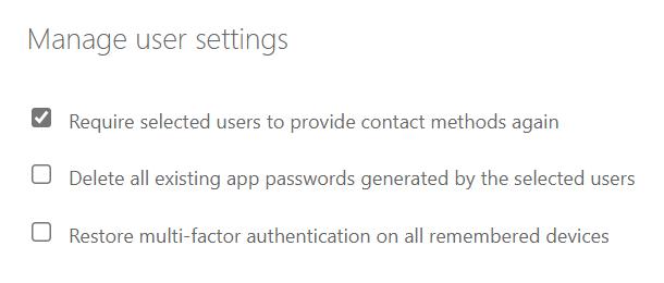 Kräv utvalda användare att tillhandahålla kontaktmetoder igen