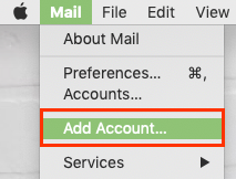 In Mail Menu, Add Account