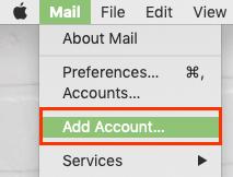 Mail Menüsünden Hesap Ekle seçeneğini tıklayın